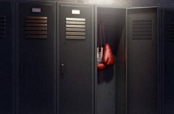 Wall Art - Digital Art - Open Locker And Hung Up Boxing Gloves by Allan Swart