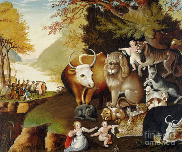 Settlers Painting - Peaceable Kingdom by Edward Hicks