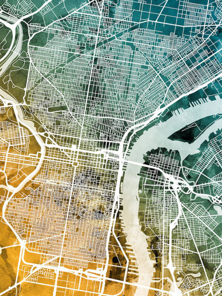 Wall Art - Digital Art - Philadelphia Pennsylvania Street Map by Michael Tompsett