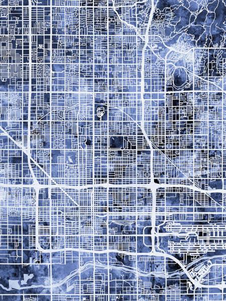 Phoenix Arizona Wall Art - Digital Art - Phoenix Arizona City Map by Michael Tompsett