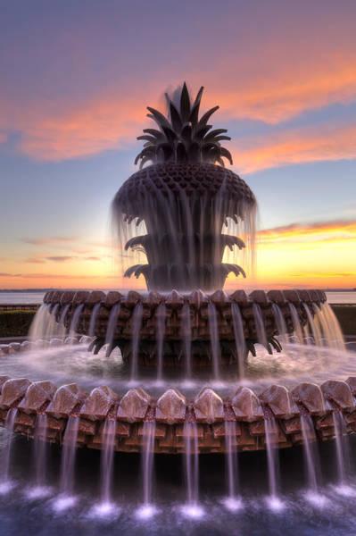 Pineapple Photograph - Pineapple Fountain Charleston Sc Sunrise by Dustin K Ryan