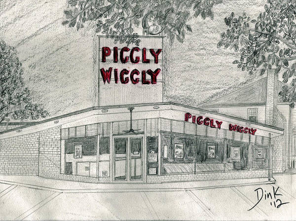Piggly Wiggly Painting - 5 Points 1950's Piggly Wiggly by Dink Densmore