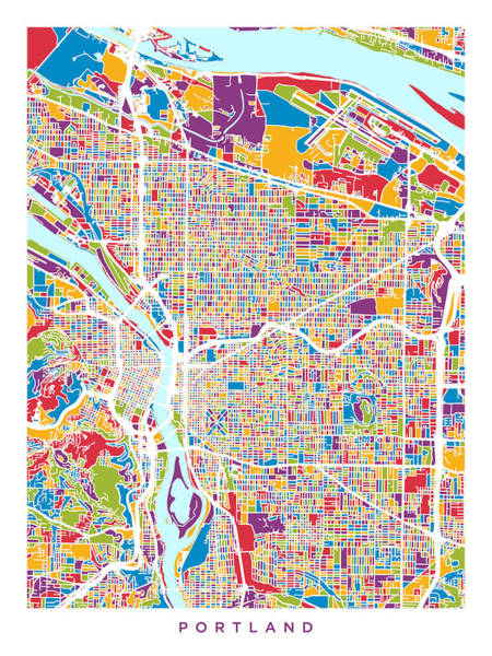 Wall Art - Digital Art - Portland Oregon City Map by Michael Tompsett