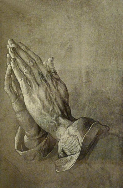 Drawing - Praying Hands by Troy Caperton