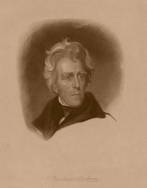 American History Drawing - President Andrew Jackson by War Is Hell Store