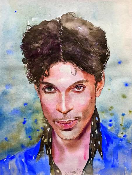 Blue Feather Wall Art - Painting - Prince Rogers Nelson Portrait by Suzann's Art