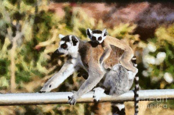 Ring-tailed Lemur Painting - Ring Tailed Lemur With Baby by George Atsametakis