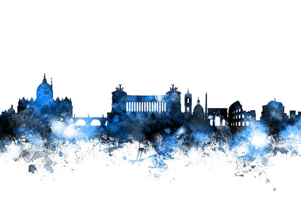 Rome Wall Art - Digital Art - Rome Italy Skyline by Michael Tompsett