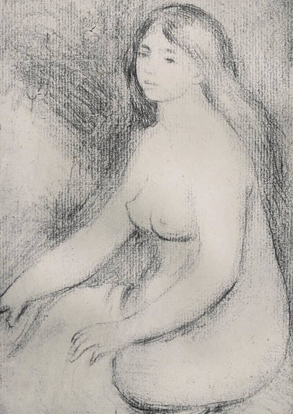 Pastel Pencil Drawing - Seated Bather by Pierre Auguste Renoir