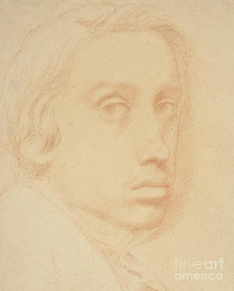 Crayon Drawing - Self-portrait by Edgar Degas