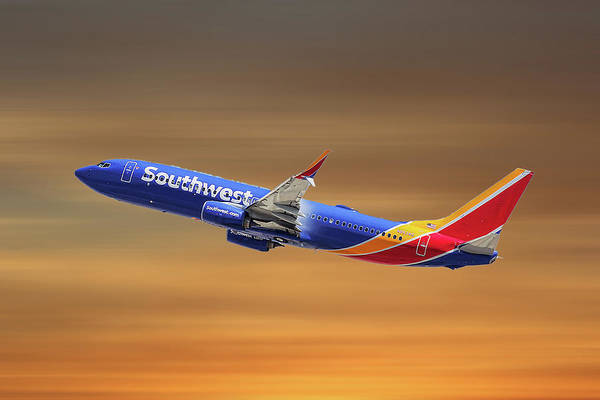 Boeing Mixed Media - Southwest Airlines Boeing 737-8h4 by Smart Aviation
