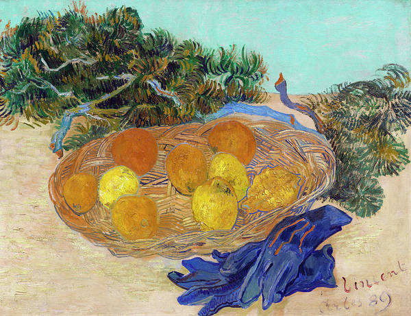 Wall Art - Painting - Still Life Of Oranges And Lemons With Blue Gloves by Vincent van Gogh