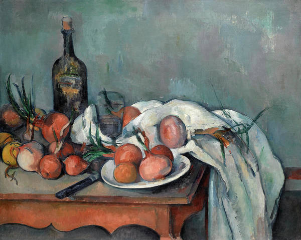 Apple Peel Painting - Still Life With Onions by Paul Cezanne