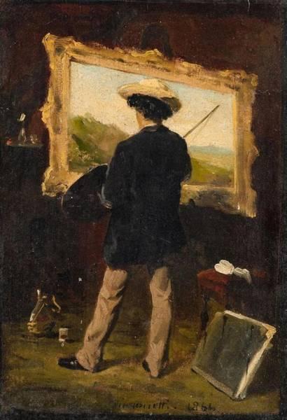 Wall Art - Painting - The Artist In His Studio by Attilio Simonetti