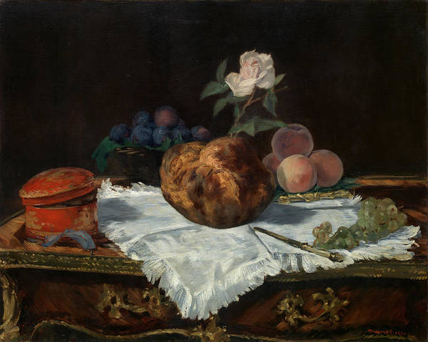 Apple Peel Wall Art - Painting - The Brioche by Edouard Manet