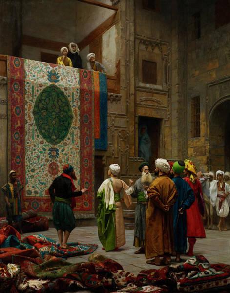 Merchant Painting - The Carpet Merchant by Jean-Leon Gerome
