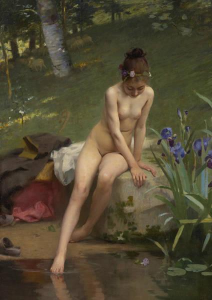 Painting - The Little Shepherdess  by Paul Peel