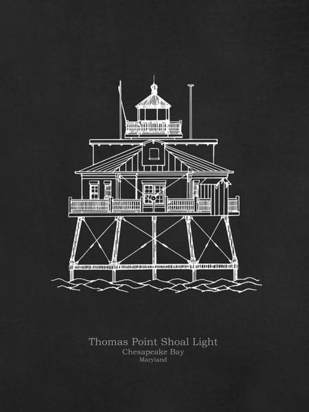 Wall Art - Drawing - Thomas Point Shoal Lighthouse - Maryland - Blueprint Drawing by JESP Art and Decor