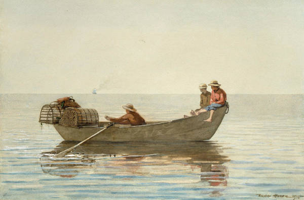 Homer Painting - Three Boys In A Dory With Lobster Pots by Winslow Homer