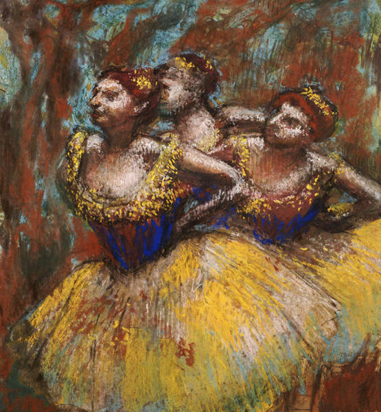 Lady In Waiting Painting - Three Dancers by Edgar Degas