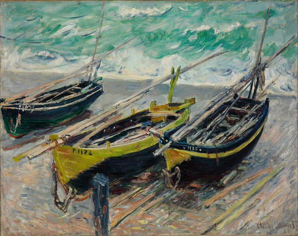 Painting - Three Fishing Boats by Claude Monet