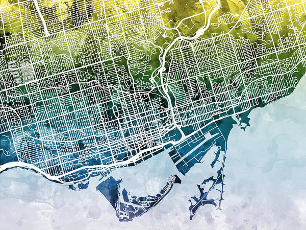 Streets Digital Art - Toronto Street Map by Michael Tompsett