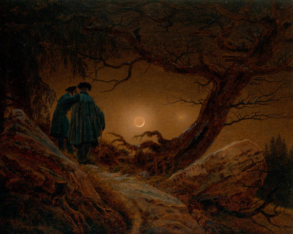Painting - Two Men Contemplating The Moon by Caspar David Friedrich