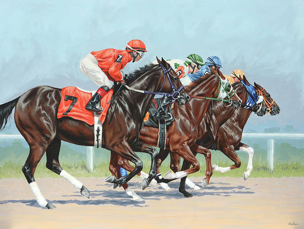Race Horse Wall Art - Painting - Untitled  by Lesley Alexander