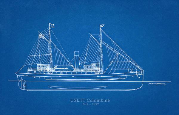 Wall Art - Drawing - U.s. Coast Guard Tender Columbine by JESP Art and Decor
