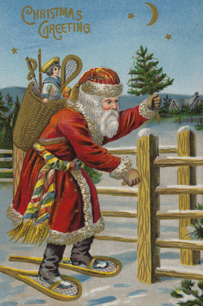 Delivering Painting - Vintage Christmas Card by English School