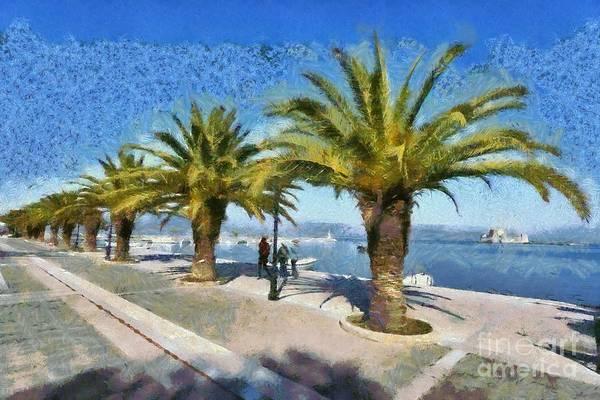 Peloponnese Painting - Walkway In Nafplio Town by George Atsametakis