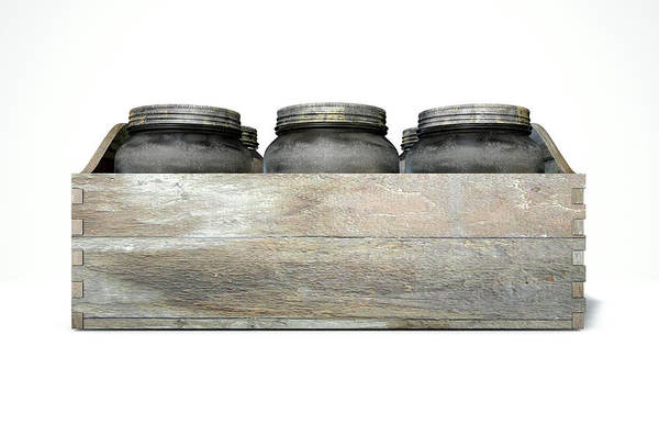 Wooden Box Digital Art - Whiskey Jars In A Crate by Allan Swart