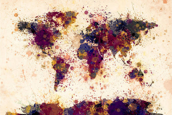 Wall Art - Digital Art - World Map Paint Splashes by Michael Tompsett