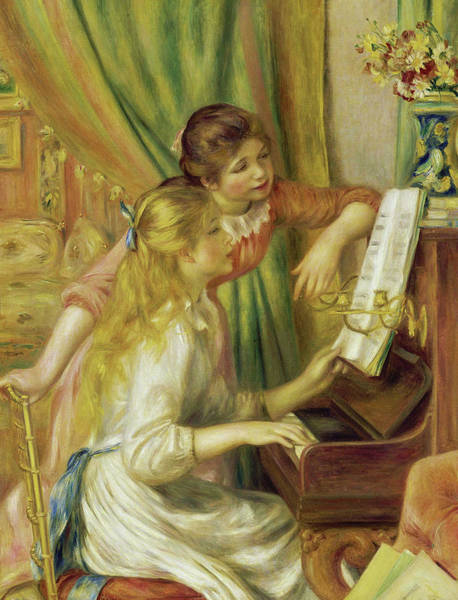 Trumpet Mixed Media - The Piano Music Teacher by Auguste Renoir