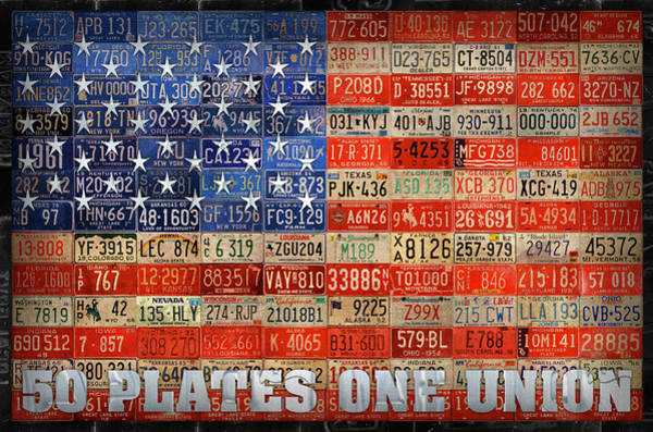 Wall Art - Mixed Media - 50 Plates One Union Recycled License Plate American Flag by Design Turnpike
