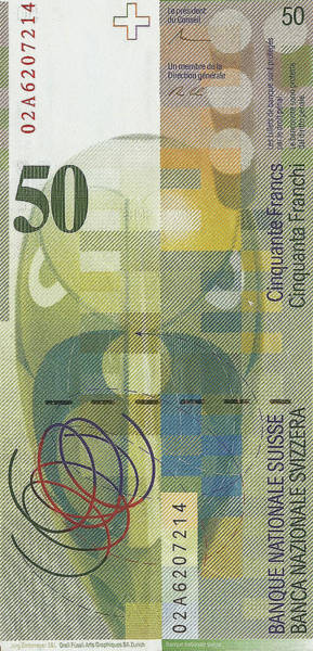 Digital Art - 50 Swiss Franc Bill by Serge Averbukh