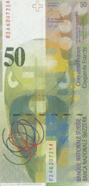 Digital Art - 50 Swiss Franc Pop Art Bill by Serge Averbukh
