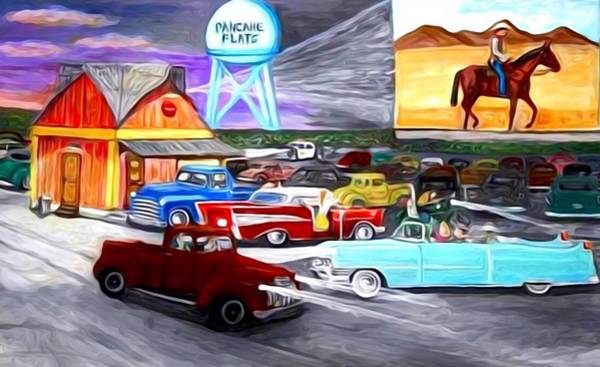 Wall Art - Painting - 50s Drive In Theatre by Larry Lamb