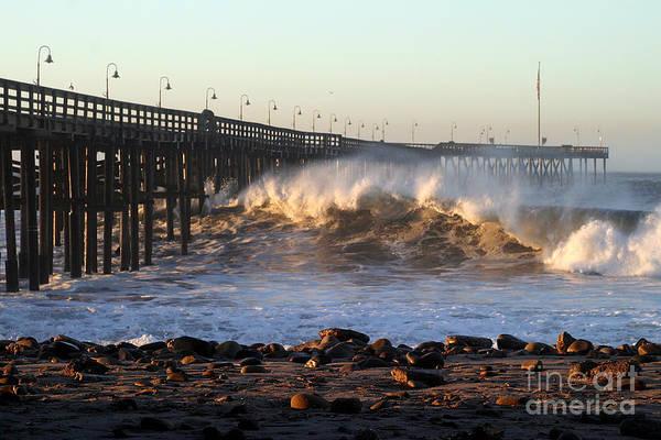Photograph - Ocean Wave Storm Pier by Henrik Lehnerer
