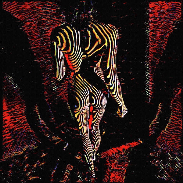 Digital Art - 5360s-mak Abstract Zebra Striped Woman Strong Shoulders by Chris Maher