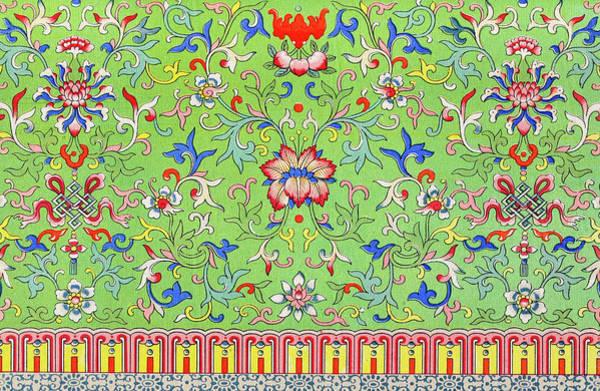 Boho Chic Drawing - Green Bohemian Art - Vintage Asian Floral Pattern Wall Art Prints by Wall Art Prints