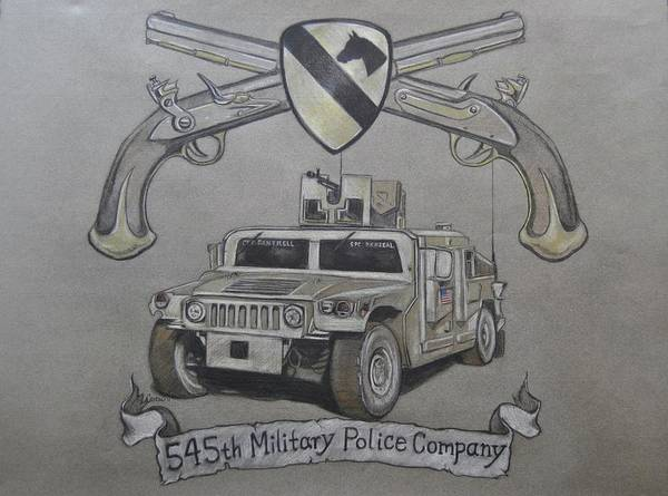 Humvee Drawing - 545th Military Police Company by Calvin Carter