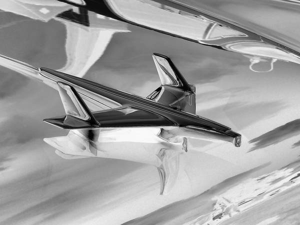 Photograph - '55 Bel Air Hood Ornament Solar Effect by Kathy K McClellan