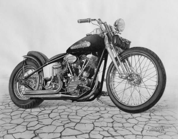 Harley Davidson Black And White Wall Art - Drawing - 55 Pan Head by Tim Dangaran