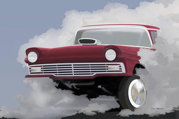 Hot Rod Digital Art - 57 Ford Gasser by Motorvate Studio