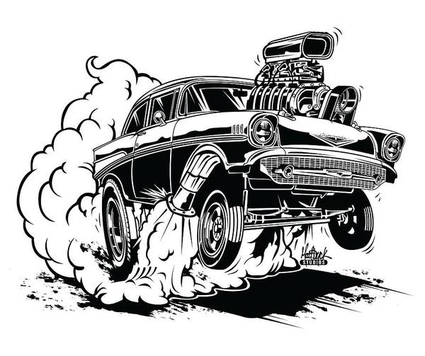 '57 Gasser Cartoon Art Print