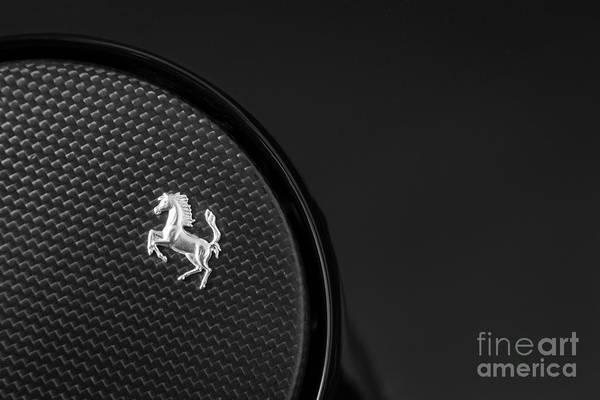 Carbon Fiber Photograph - 599 Ferrari Gas Cap Abstract by Dennis Hedberg