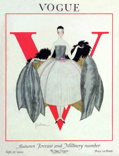 Headband Photograph - A Vogue Magazine Cover Of A Woman by Georges Lepape