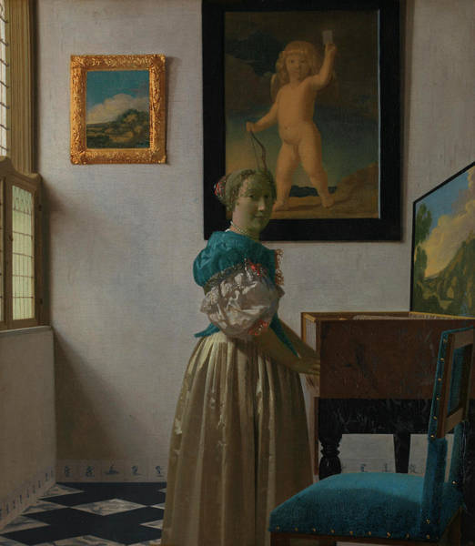 Window Frame Painting - A Young Woman Standing At A Virginal by Johannes Vermeer
