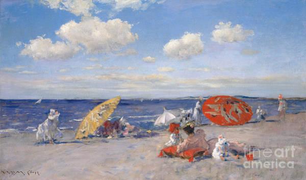 Sunbathing Painting - At The Seaside by William Merritt Chase